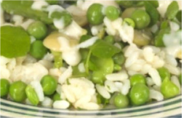 Rice with Alosparajus and Peas